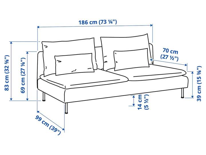 IKEA SÖDERHAMN Sekcja 3-osobowa, Samsta pomarańczowy, Szerokość: 186 cm Modułowe Boki Bez boków