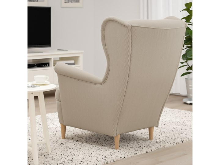 IKEA STRANDMON Fotel uszak, Kelinge beżowy, Szerokość: 82 cm Tworzywo sztuczne Tkanina Drewno Pomieszczenie Salon