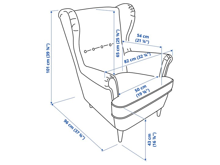 IKEA STRANDMON Fotel uszak, Kelinge beżowy, Szerokość: 82 cm Drewno Tworzywo sztuczne Tkanina Pomieszczenie Salon