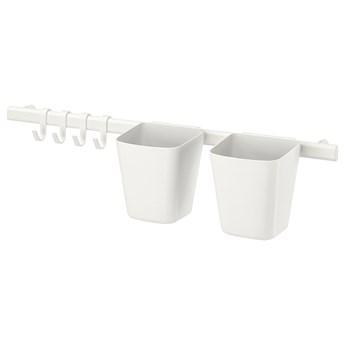 IKEA SUNNERSTA Drążek 4 haczyki/2 pojemniki, biały, Długość: 60 cm