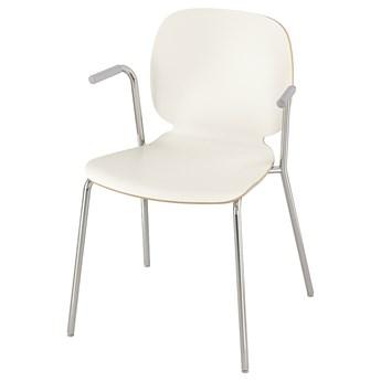 IKEA SVENBERTIL Krzesło z podłokietnikami, biały/Dietmar chrom, Przetestowano dla: 110 kg