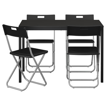 IKEA TÄRENDÖ / GUNDE Stół i 4 krzesła, czarny, 110 cm