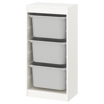 IKEA TROFAST Regał z pojemnikami, Biały/szary, 46x30x94 cm