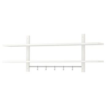 IKEA VÄRDE Półka, 5 haczyków, biały, 140x50 cm