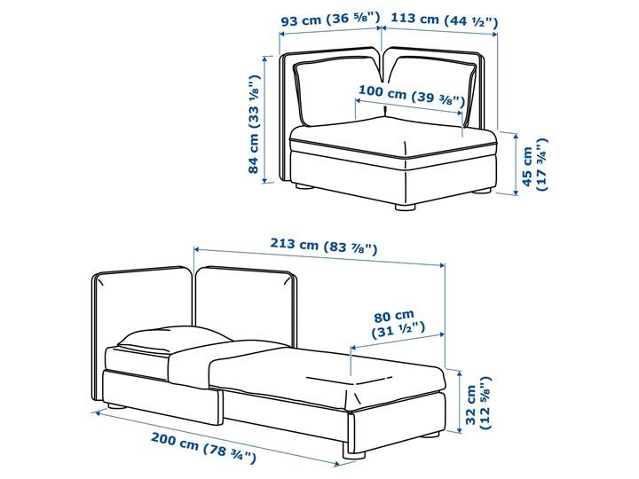 IKEA VALLENTUNA Moduł sofy rozkładanej z oparciem, Kelinge antracyt, Szerokość: 113 cm Modułowe Kolor Szary
