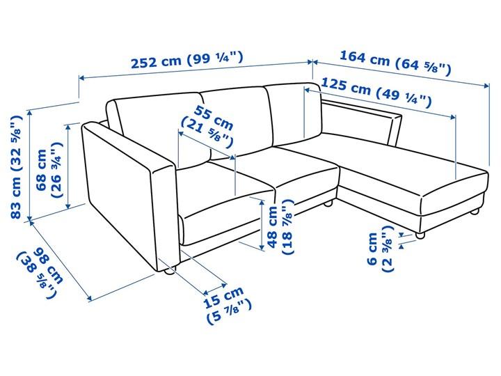 IKEA VIMLE Sofa 3-osobowa, z szezlongiem/Gunnared średnioszary, Wysokość z poduchami oparcia: 83 cm Rozkładanie Prawostronne Nóżki Bez nóżek
