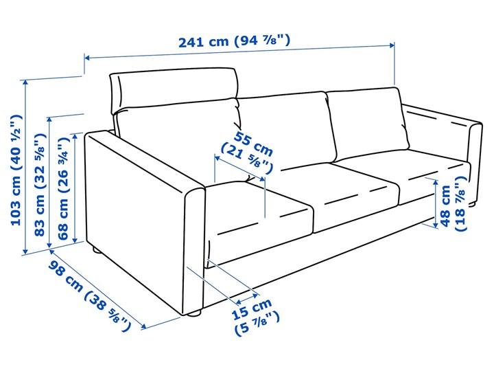 IKEA VIMLE Sofa 3-osobowa, z zagłówkiem/Hallarp beżowy, Wysokość z zagłówkiem: 103 cm Boki Z bokami Materiał obicia Tkanina