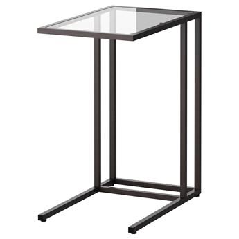 IKEA VITTSJÖ Stolik pod laptopa, Czarnobrąz/szkło, 35x65 cm