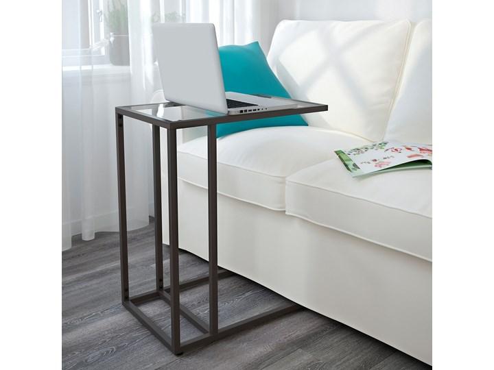 IKEA VITTSJÖ Stolik pod laptopa, Czarnobrąz/szkło, 35x65 cm Kolor Czarny Stal Tworzywo sztuczne Metal Kategoria Szafki i regały