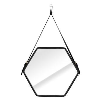 Lustro ścienne wiszące w kształcie sześcianu Minimalistyczne Skórzane STONE-45,5X39,5X3 cm - 45,5X39,5X3 cm