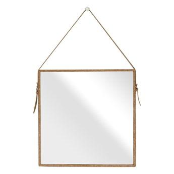Minimalistyczne lustro ścienne na pasku Kwadrat Korek styl Boho CORK
