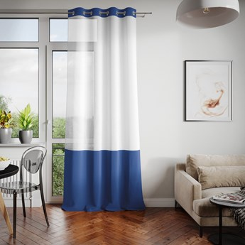 Firana dekoracyjna z welwetowym panelem Na przelotkach Granatowa IRENE  - 140x250 cm