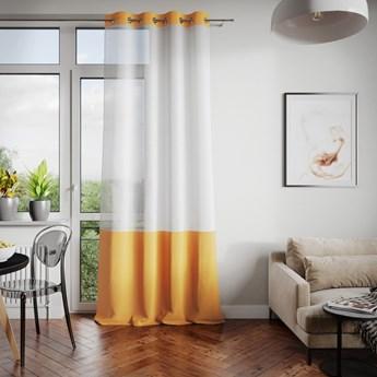 Firana dekoracyjna z welwetowym panelem Na przelotkach Żółta IRENE  - 140x250 cm