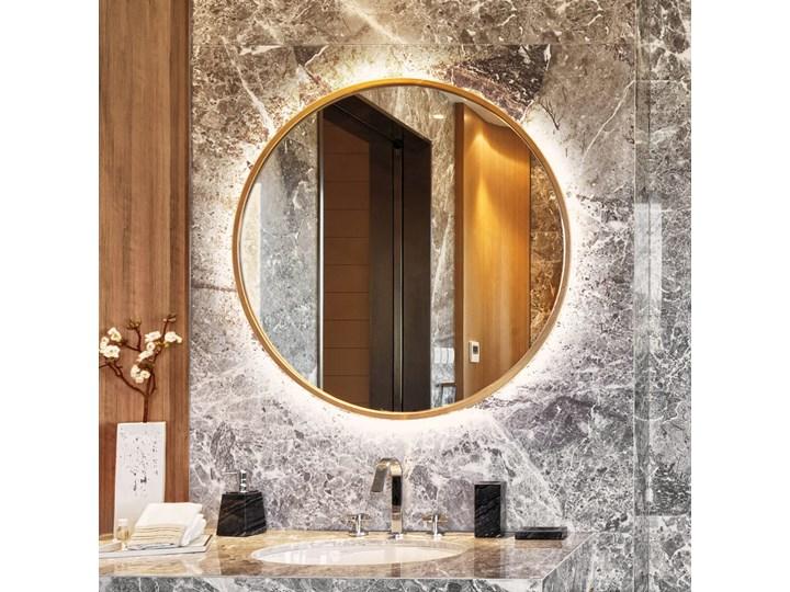 Lustro Scandi  podświetlane – złote Okrągłe Lustro z ramą Lustro podświetlane Styl Nowoczesny