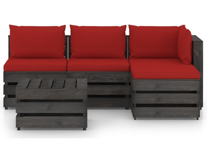vidaXL 5-cz. zestaw wypoczynkowy do ogrodu, z poduszkami, drewniany Zestawy modułowe Drewno Zestawy wypoczynkowe Styl Rustykalny
