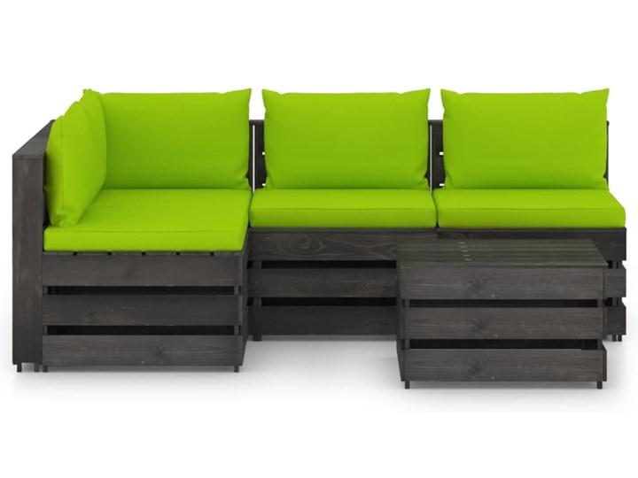 vidaXL 5-cz. zestaw wypoczynkowy do ogrodu, z poduszkami, drewniany Zestawy wypoczynkowe Zestawy modułowe Drewno Styl Rustykalny