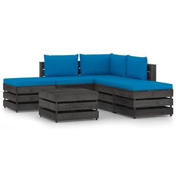 vidaXL 6-cz. zestaw wypoczynkowy do ogrodu, z poduszkami, drewniany