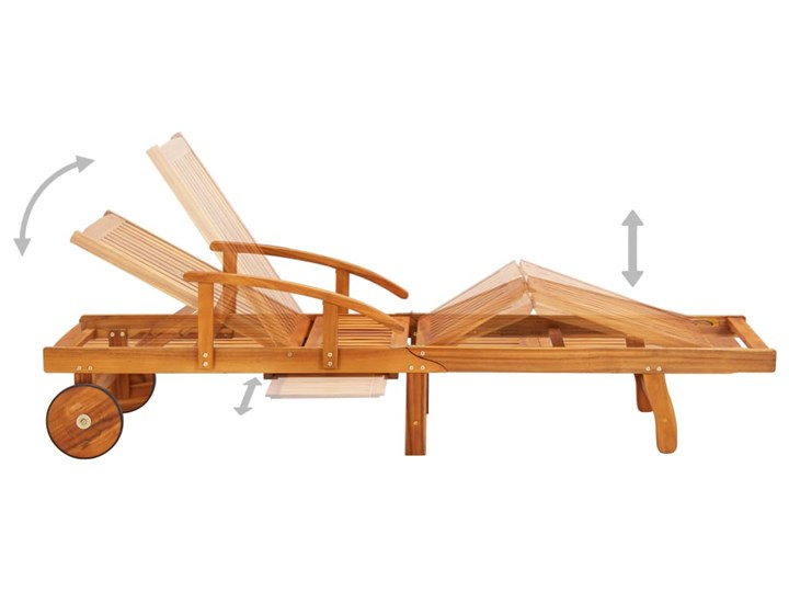 vidaXL Leżaki z poduszkami i stolikiem, 2 szt., lite drewno akacjowe Styl Rustykalny Kategoria Leżaki ogrodowe