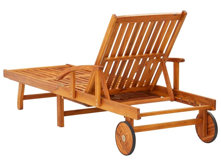 vidaXL Leżaki z poduszkami i stolikiem, 2 szt., lite drewno akacjowe Styl Rustykalny