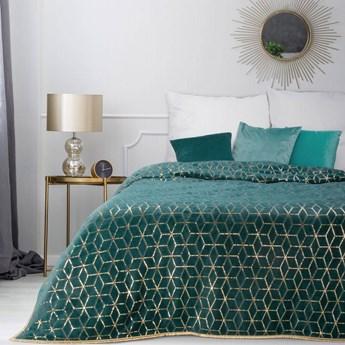 Narzuta flano na łóżko turkusowa ze nadrukiem 220x240, z krótkiego futerka