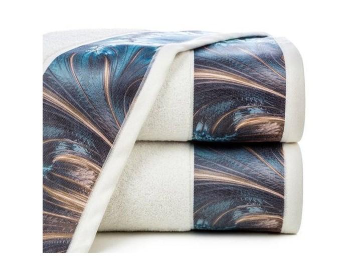 Ręcznik Eva Minge Chiara kremowy w rozmiarze 50x90 z drukowaną bordiurą 50x90 cm Ręcznik kąpielowy Bawełna Kolor Beżowy