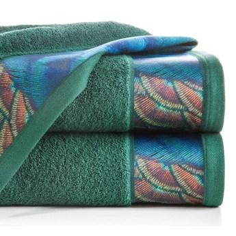 Ręcznik Eva Minge Camila ciemny zielony w rozmiarze 50x90 z drukowaną bordiurą