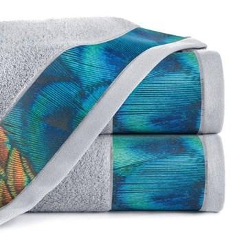 Ręcznik Eva Minge Camila srebrny w rozmiarze 70x140 z drukowaną bordiurą