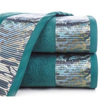 Ręcznik Eva Minge Carla turkusowy w rozmiarze 70x140 z drukowaną bordiurą