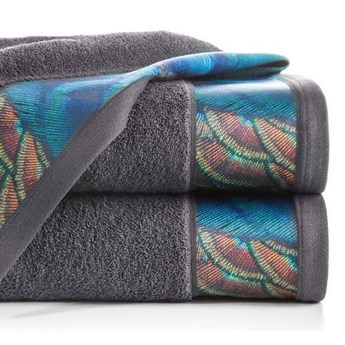 Ręcznik Eva Minge Camila stalowy w rozmiarze 70x140 z drukowaną bordiurą