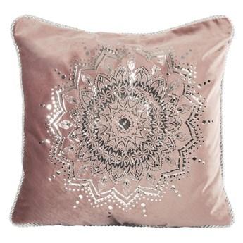 Poszewka na poduszkę ciemno różowa zdobiona błyszczącym nadrukiem w rozmiarze 45x45 z miękkiej tkaniny velvet