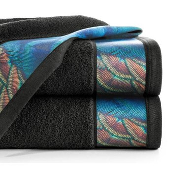 Ręcznik Eva Minge Camila czarny w rozmiarze 70x140 z drukowaną bordiurą