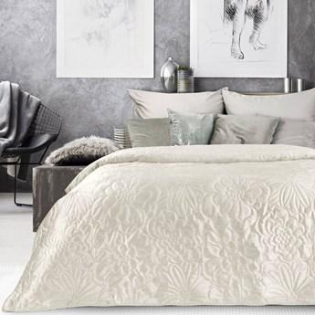 Narzuta welwet na łóżko kremowa ecru 220x240, pikowana w modny motyw kwiatów, bardzo elegancka