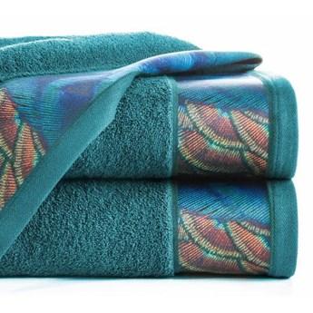 Ręcznik Eva Minge Camila turkusowy w rozmiarze 50x90 z drukowaną bordiurą