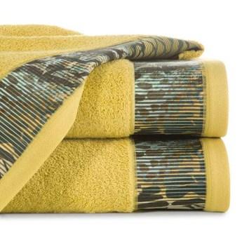 Ręcznik Eva Minge Carla musztardowy w rozmiarze 70x140 z drukowaną bordiurą