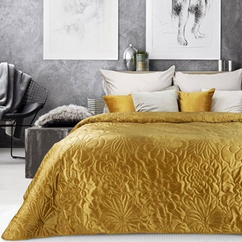 Narzuta welwet na łóżko musztardowa 220x240, pikowana w modny motyw kwiatów, bardzo elegancka