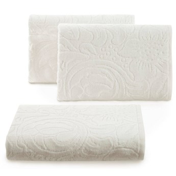 Welurowy ręcznik kąpielowy 70x140 kremowy 390 g/m2 elegancki zdobiony na całej powierzchni żakardowym wzorem kwiatowym