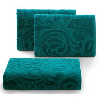 Welurowy ręcznik kąpielowy 70x140 turkusowy 390 g/m2 elegancki zdobiony na całej powierzchni żakardowym wzorem kwiatowym