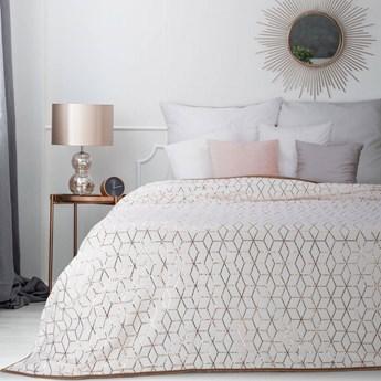 Narzuta flano na łóżko biała z miedzianym nadrukiem 220x240, z krótkiego futerka