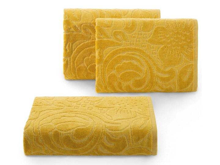 Welurowy ręcznik kąpielowy 70x140 musztardowy 390 g/m2 elegancki zdobiony na całej powierzchni żakar ...