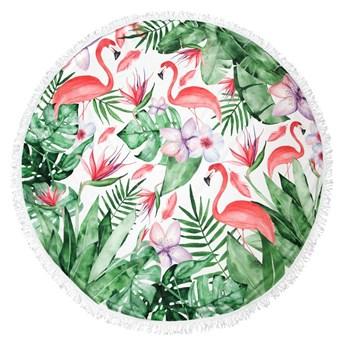 Okrągły ręcznik plażowy havana z frędzlami zielono różowy flamingi szerokości 150 cm szybkoschnący