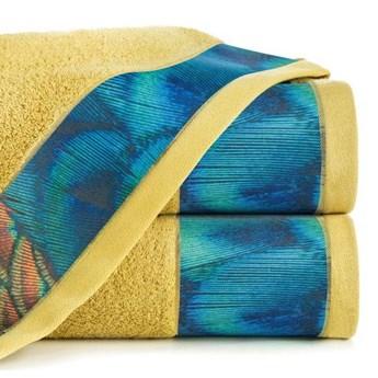 Ręcznik Eva Minge Camila musztardowy w rozmiarze 70x140 z drukowaną bordiurą