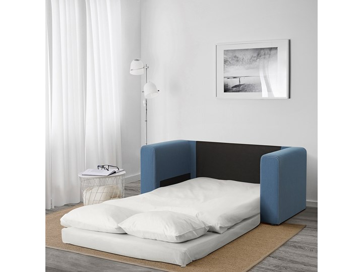 IKEA ASKEBY Sofa 2-osobowa rozkładana, Knisa średnioniebieski, Szerokość: 149 cm Typ Gładkie Wielkość Dwuosobowa