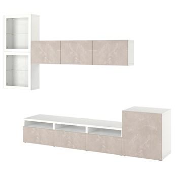 IKEA BESTÅ Kombinacja na TV/szklane drzwi, Biały Glassvik/Bergsviken beżowy, 300x42x211 cm