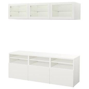 IKEA BESTÅ Kombinacja na TV/szklane drzwi, Biały/Lappviken białe szkło przezroczyste, 180x42x192 cm