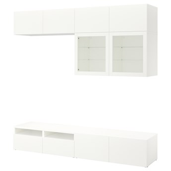 IKEA BESTÅ Kombinacja na TV/szklane drzwi, Biały/Lappviken białe szkło przezroczyste, 240x42x231 cm