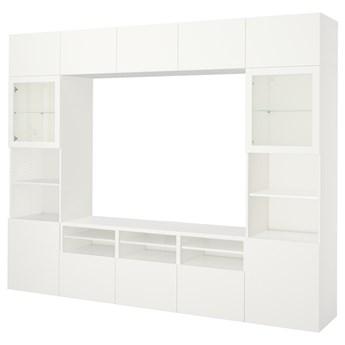 IKEA BESTÅ Kombinacja na TV/szklane drzwi, Biały/Lappviken białe szkło przezroczyste, 300x42x231 cm