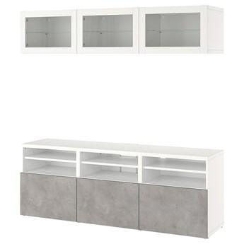 IKEA BESTÅ Kombinacja na TV/szklane drzwi, Biały Sindvik/Kallviken jasnoszary, 180x42x192 cm