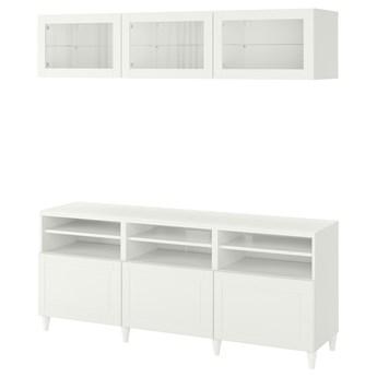 IKEA BESTÅ Kombinacja na TV/szklane drzwi, Biały/Smeviken/Kabbarp białe szkło przezroczyste, 180x42x192 cm