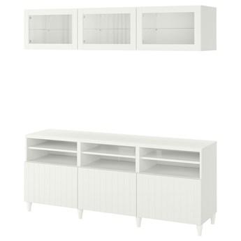 IKEA BESTÅ Kombinacja na TV/szklane drzwi, Biały/Sutterviken/Kabbarp białe szkło przezroczyste, 180x42x192 cm
