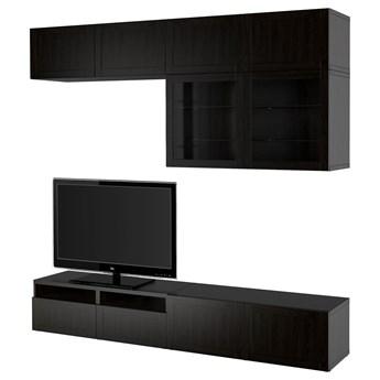 IKEA BESTÅ Kombinacja na TV/szklane drzwi, Czarnybrąz/Hanviken czarnobrązowe szkło przezroczyste, 240x42x231 cm